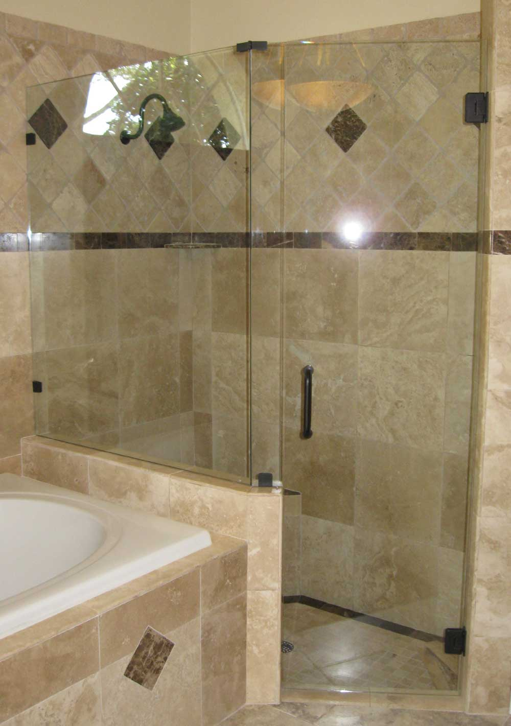 Frameless Shower Enclosure, Panels Set On Knee Wall With Clips, Oil Rub  Bronze Hardware