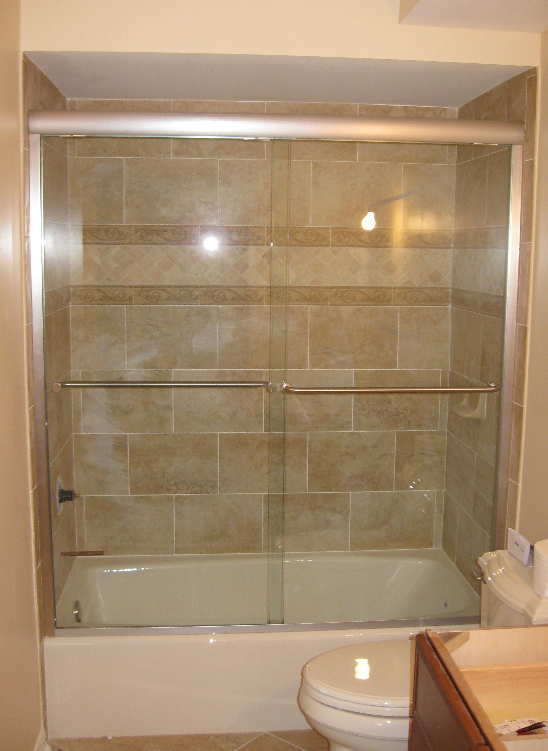 Deluxe Alumax Tub Slider, Brushed Nickel Hardware, Clear Glass